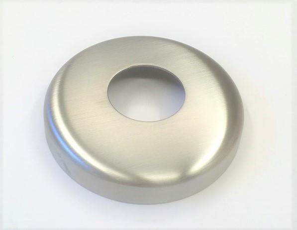 Edelstahl-Rosette Ø 90 x 1,5 mm, gelocht mit Mittelloch Ø 34 mm, Ausführung KB, geschliffen K240