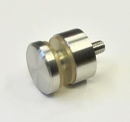 Punkthalter aus Edelstahl Ø 30 mm mit Gewindestift M8x40 mm, flacher Anschluss