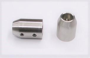 25502 - Querstabhalter aus Edelstahl, geschliffen K240, für flachen Rohranschluss mit Kopfbohrung für Stäbe Ø 12 mm