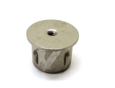 Stahl-Einschlagstopfen flexibel für Rohr Ø 42,4 x 1,8-2,2 mm, Bohrung M8, flache Ausführung