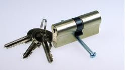 Profilzylinder Edelstahloptik, inkl. 3 Schlüsseln