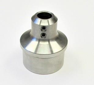 KBH-HT500 V2A Einklebestopfen für Rohr Ø 42,4 x 2,0 mm, gewölbt, mit 2 Madenschrauben