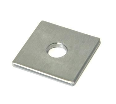 Anschweißdeckel für Rohr 40 x 40 x 4 mm aus Edelstahl, geschliffen K240, mit Mittelloch Ø 12,2 mm