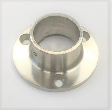 Edelstahl Wandflansch Ø 70 x 5 mm für die Aufnahme von Rohr Ø 33,7 mm, geschliffen K240 mit Madenschraube zum Klemmen