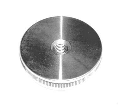 Edelstahl-Einschlagstopfen massiv für Rohr Ø 48,3 x 2 mm, Bohrung M8, flache Ausführung