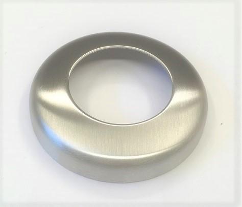 Edelstahl-Rosette Ø 76 x 1,5 mm, gelocht mit Mittelloch Ø 43 mm, Ausführung KB, geschliffen K240