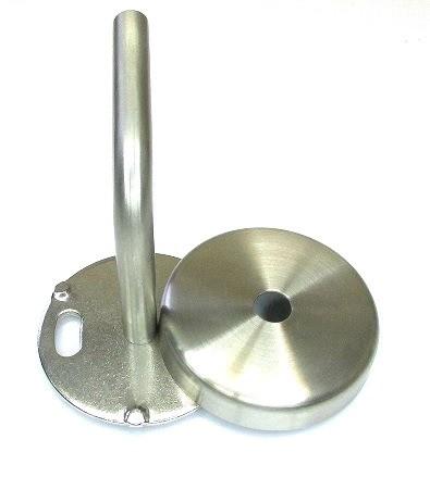 Edelstahl Handlaufträger Ø 70 x 4 mm, mit Bügel 75x75 mm und Cliprosette und M6, geschliffen K240