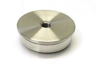 Edelstahl-Einschlagstopfen hohl für Rohr Ø 33,7 x 2 mm, Bohrung M8, flache Ausführung