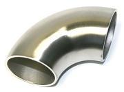 90° Einschweißbogen aus Edelstahl, geschliffen K240, für Rohr Ø 33,7 x 2 mm
