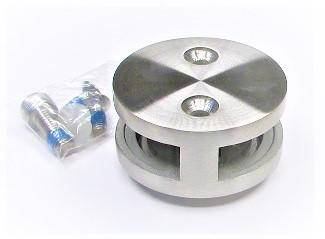 79910 - V2A Glashalter Ø 60 mm, mit beideitiger Öffnung, geschliffen K240, für flachen Anschluss