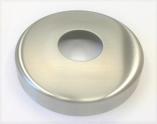 Edelstahl-Rosette Ø 105 x 1,5 mm, gelocht mit Mittelloch Ø 43 mm, Ausführung KB, geschliffen K240