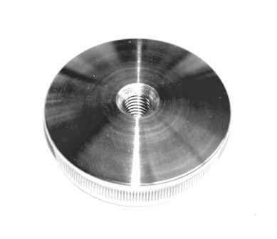 Edelstahl-Einschlagstopfen massiv für Rohr Ø 33,7 x 2 mm, Bohrung M8, gewölbte Ausführung