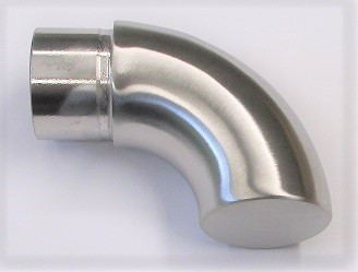 Endstück Steck-/Einklebefitting aus Edelstahl, geschliffen K240, für Rohr Ø 33,7, Unterseite geschlossen