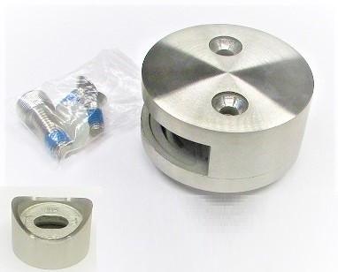 79904 - V2A Glashalter Ø 60 mm, mit einseitiger Öffnung, geschliffen K240, für Anschluss an Rohr Ø 42,4 mm