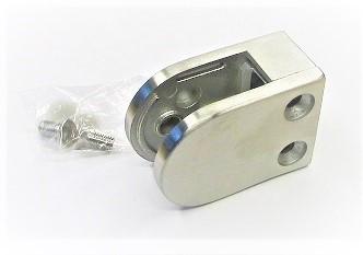80300 - Edelstahl Glashalter 63x45x30 mm, flacher Anschluss, geschliffen K240