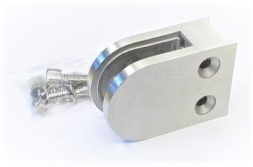 80142 - Edelstahl Glashalter 63x45x26mm, Anschluss für Rohr Ø 42,4 mm, geschliffen K240