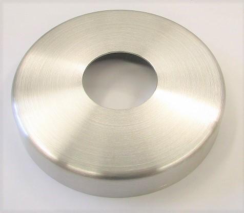 Edelstahlrosette geschliffen K240 Außendurchmesser 125 mm, mit Mittelloch für 48,3 mm Rohr
