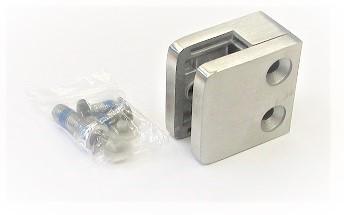 82600 - Glashalter aus Edelstahl 45 x 45 x 26 mm, geschliffen K240 mit ABZ
