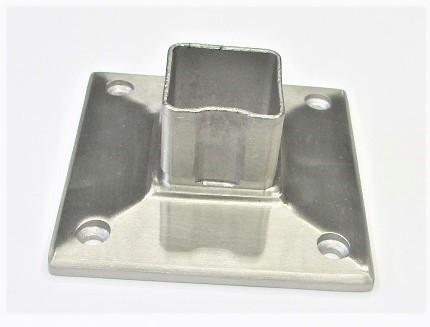 78202 - V2A Bodenplatte für 40x40x2 mm Rohr, 95x95x6 mm, 4 Löcher Ø 5,6 mm gesenkt