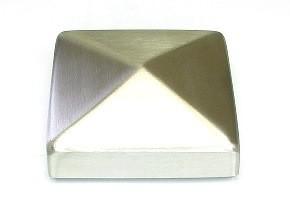 Edelstahl-Pyramidenkappe, geschliffen K240, für Rohr 100 x 100 mm, Ecken verschweißt