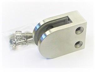 80100 - Edelstahl Glashalter 63x45x26mm, flacher Anschluss, geschliffen K240
