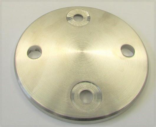 Wandankerronde aus Edelstahl Ø 100 x 6, 4 Löcher Ø 11 mm, geschliffen K240, 2 Bohrungen gesenkt