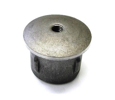 Stahl-Einschlagstopfen flexibel für Rohr Ø 42,4 x 1,8-2,2 mm, Bohrung M8, gewölbte Ausführung