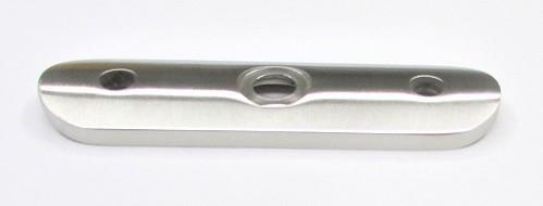 75103 - V2A Rohranschlussplatte 93x25x4 mm, Anschluss für Rohr Ø 42,4 mm, Mittelloch 90° gesenkt