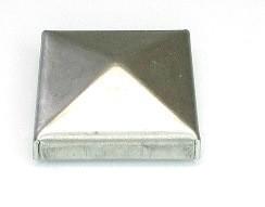 Stahl-Pyramidenkappe zum Aufstecken, 40 x 40 mm, Bund 7 mm, Gesamthöhe ca. 15 mm