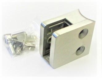 82442 -Glashalter aus Edelstahl 45 x 45 x 26 mm, Anschluss an Rohr Ø 42,4 mm, geschliffen K240
