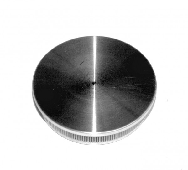 Edelstahl-Einschlagstopfen massiv für Rohr Ø 42,4 x 2 mm, Durchgangsloch Ø12mm, flache Ausführung