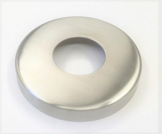 Edelstahl-Rosette Ø 105 x 1,5 mm, gelocht mit Mittelloch Ø 49 mm, geschliffen K240