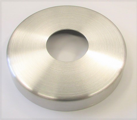 Edelstahl-Rosette Ø 125 x 1,5 mm, gelocht mit Mittelloch Ø 43 mm, geschliffen K240