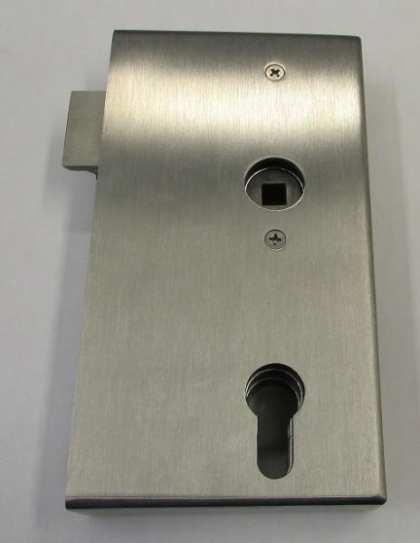 79202 - Edelstahl Schlosskasten geschliffen K240, mit verzinktem Einsteckschloss, 172 x 94 x 30 mm