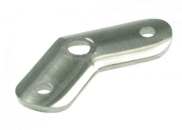 Rohranschlussplatte aus Edelstahl, 45°-Ecke, für Rohranschluss Ø 42,4 mm